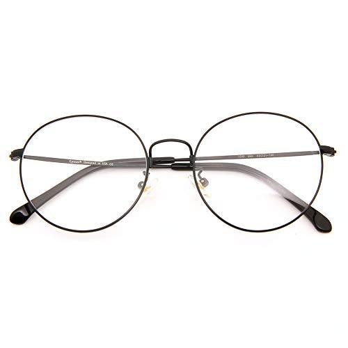 Cyxus Gafas Anti Luz Azul de Marco de metal Anti Tension de Ojos [Mejor Sueno] (Lentes Transparentes) Unisexo (Hombres/Mujeres) (Negro)