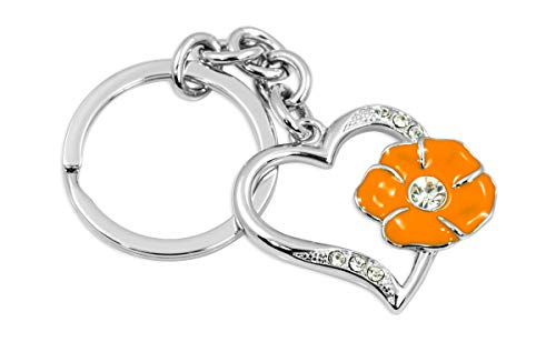 Beautiful silver crystal heart key chain/charm with a shiny orange flower. Made of polished chrome coated solid metal and orange enamel. Large crystal in -
