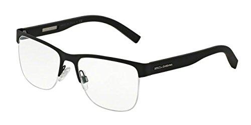 Dolce&Gabbana DG1272 Eyeglass Frames 1260-53 - Black Rubber - Gabbana Men Eyeglasses Dolce
