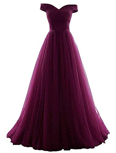 (VICKYBEN Women's A-Line Tulle Prom Formal Evening Homecoming Dress Ball Gown (12, Grape) )