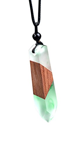 Handmade Wood Resin Necklace Pendant Long Adjustable Size Rope Chain Natural Wooden Necklace Jewelry Gifts For Women Men (White Green)