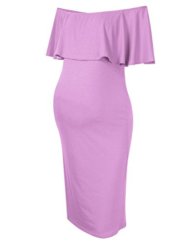 Coolmee Women's Maternity Dress Off Shoulder Casual Maxi Dress (XL, Light Purple) -