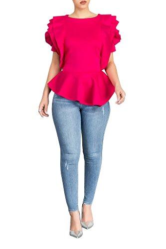 (PrettySoul Women's Elegant Round Neck Sleeveless Flounce Ruffle Hem Flower Peplum Blouse Shirt Tops Clubwear Rose Pink, XX-Large)