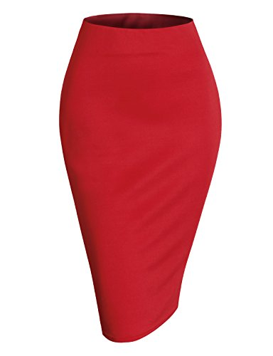 (H2H Womens Basic Versatile Elastic Waist Band Office Pencil Skirt RED 2XL)