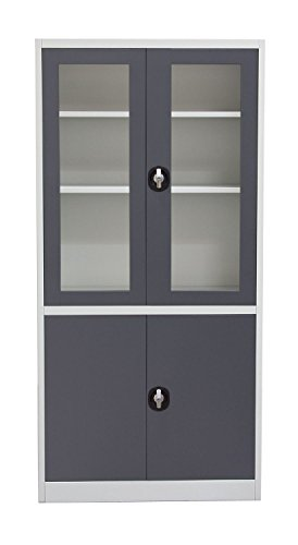 Diamond Sofa Home Furniture 4-Door 5-Shelf Bookcase With Tempered Glass Door Front & Key Lock ()