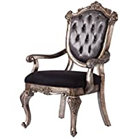 ACME Furniture 60543 Chantelle Arm Chair Set of 2, Antique Platinum/Silver Gray Silk-Like Fabric