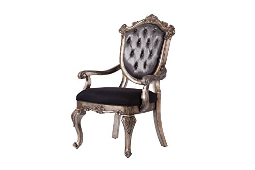 ACME Furniture Dining Chair, Silver Gray Silk-Like Fabric & Antique Platinum