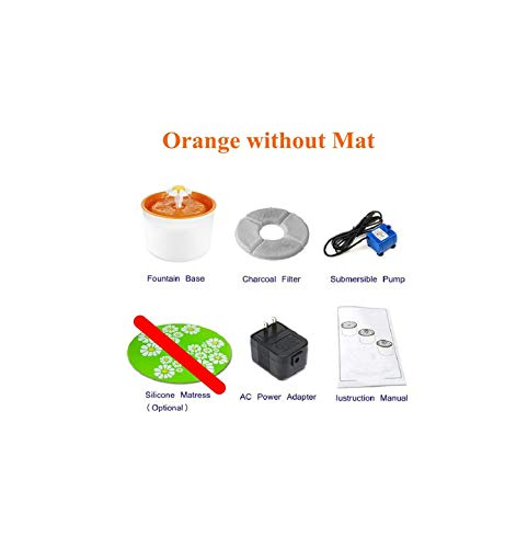 Automatic Cat Water Fountain for Pets Water Dispenser Large Spring Drinking Bowl Cat Automatic Feeder Drink Filter,Orange Without Mat,EU Plug,1.6L