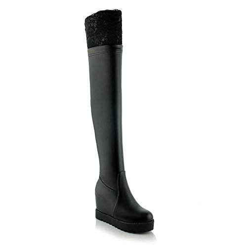 Girls Black Boots On Platform AdeeSu Imitated Inside Lace Leather Pull Heighten v4ddwzxqA