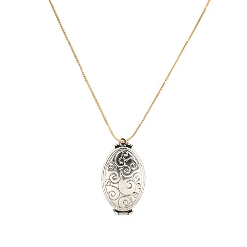 Vintage Expanding Locket Necklace,Haluoo Women Retro Engraved Expanding Photo Locket Necklace That Holds 4 Pictures Oval Stainless Steel Pendant Necklace Unisex Long Locket Necklace (Gold)