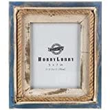 5'' x 7'' Blue and White Nautical Picture Frame with Rope