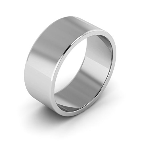 10K White Gold men's and women's plain wedding bands 8mm flat, 9.75 by i Wedding Band