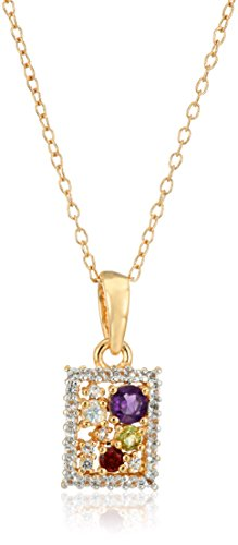 18k Yellow Gold and Rhodium Plated Sterling Silver Multi Gemstone Rectangular Pendant Necklace, 16