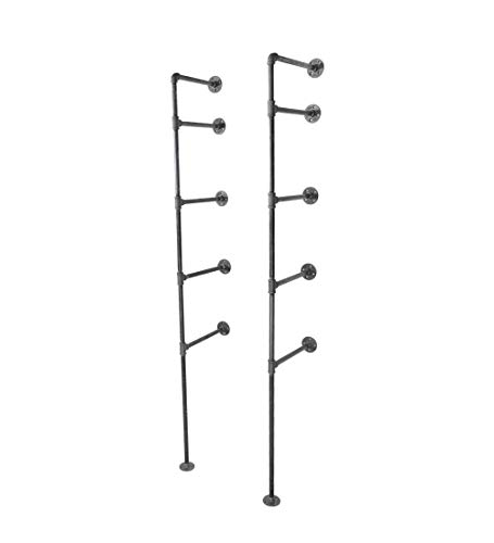 - Pipe Decor 4 Tier Industrial Shelves, Vintage Iron DIY Shelving Unit, Rustic Floor or Wall Mounted Hanging Bookshelf, Perfect for Garage or Kitchen Storage, Heavy Duty Black Metal Rack Four Shelf Kit