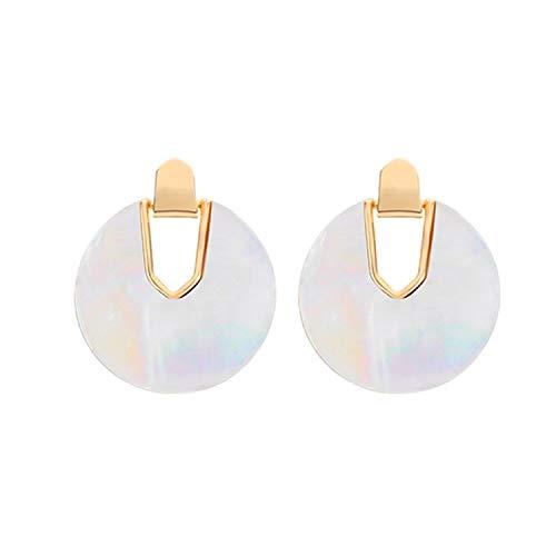 Pearl Shell Round Drop Dangle Earrings Women Unique Charm Acrylic Geometric Statement Beach Jewelry,Pearl - Stud Oversized