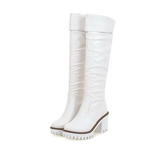 AgooLar Damen Hoher Absatz Rein Rund Zehe Ziehen auf Stiefel mit Anhänger, Weiß, 34