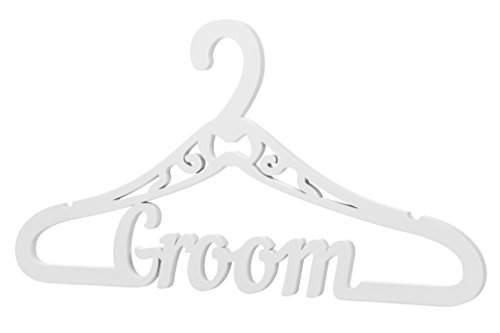 Wooden Wedding Groom Hanger for Wedding Day Ceremony - Hanger with word Groom (Groom, White)