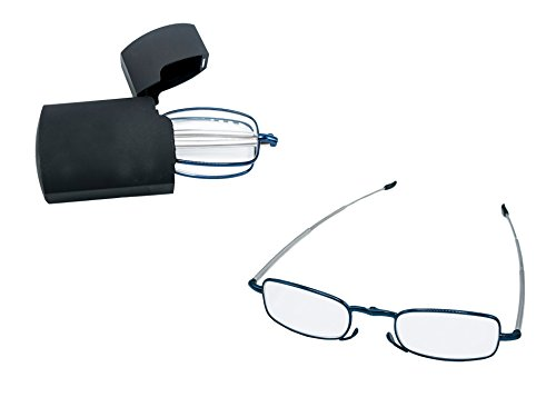 Compact Folding Reading Glasses for women and men. Blue frame, Case and cleaning cloth Included. By D-M Eyes. - Glasses Frame M