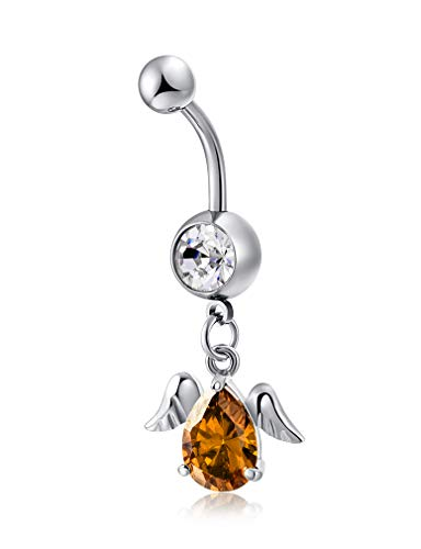 CEYIYA Dangle Belly Button Ring Skull - Surgical Steel Teardrop with Wing Navel Rings 18k Gold/White Gold Plated Ideal Gift for Women/Men/Girls,Fire Belly Piercing Jewelry ()