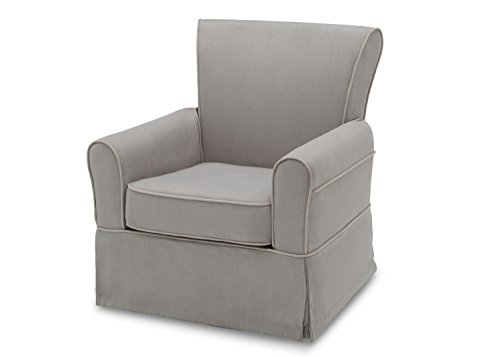Delta Furniture Benbridge Upholstered Glider Swivel Rocker Chair, Dove Grey with Soft Grey Welt by Delta Furniture