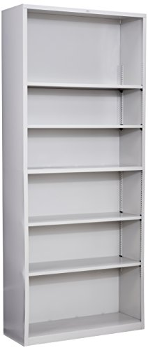 HON Brigade Metal Bookcase - Bookcase with Six Shelves, 34-1/2w by 12-5/8d by 81-1/8h, Light Gray (HS82ABC) (Metal 6 Bookcase Shelf)
