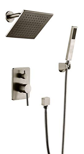 HiMyLEN Shower Faucet System Brass Mixed 8 Inch Rain Shower Head + Hand Shower Rainfall With High Pressure Combo Set,Wall Mounted,Ceramic Valve,Nickel Brushed Finish