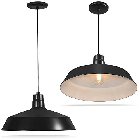 17-inch Industrial Black Pendant Barn Light Fixture with 10ft Adjustable Cord, Ceiling-Mounted Vintage Hanging Light Fixture for Indoor Use, 120V Hardwire, E26 Base LED Compatible, UL Listed 2Pack