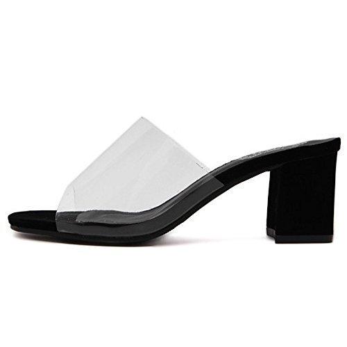 noir. 6cm 5.5 US 35.5 EU 3 UK Yingsssq Pantoufles pour Femmes Transparentes épaisses avec Talon Moyen Talon Haut (Couleuré   noir. 6cm, Taille   8.5 US 39 EU 6 UK)