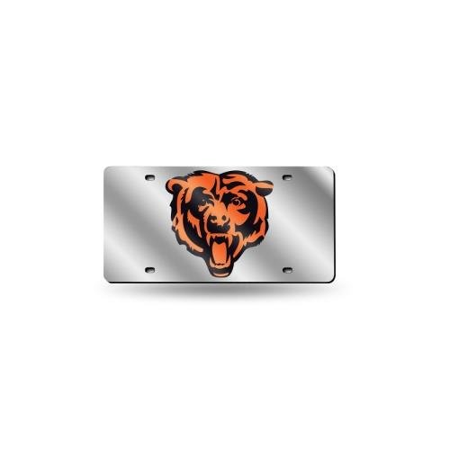 Chicago Bears Laser Cut Silver License Plate (Bears License Plate Laser Chicago)
