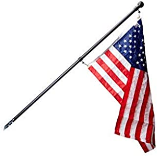 product image for Ezpole Deluxe Residential American Flag House Mount, Black Aluminum Wall Mounted Flag Pole Kit, Pre-Assembled w/ 2.5'X4' American Flag, 6 ft Flagpole, and Mounting Bracket