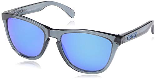 Oakley Men's OO9013 Frogskins Square Sunglasses, Crystal Black/Prizm Sapphire Polarized, 55 ()