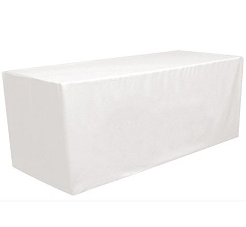 8' ft Fitted Polyester Tablecloth Rectangular Table Cover Wedding Banquet Party by GW Home (White, 8' ft) (Table Cover White 8')