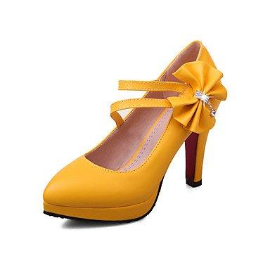 Talones de las mujeres Primavera Verano Otoño Invierno Club de los zapatos de la PU de oficina y carrera del partido y vestido de noche tacón grueso del Rhinestone BowknotBlack amarillo Pink