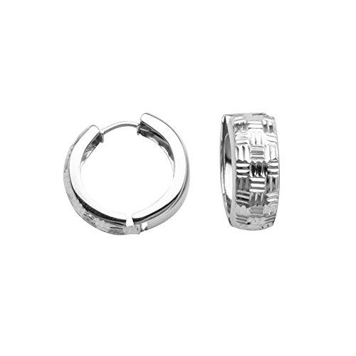 Huggie Hoop Earrings Basketweave Design Rhodium on Sterling Silver - Nontarnish