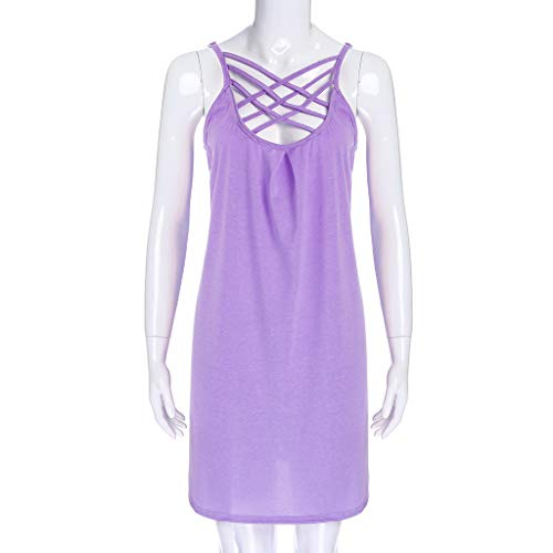 Women's Summer Spaghetti Straps Swing Tshirt Dress Casual Hollowed Out Sleeveless Solid Tank Beach Dresses (S,Purple) by Sinohomie (Image #2)