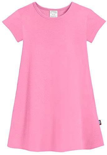 City Threads Big Girls' Cotton Short Sleeve Cover Up Dress for Sensitive Skin SPD Sensory Friendly, Medium Pink, 7 -