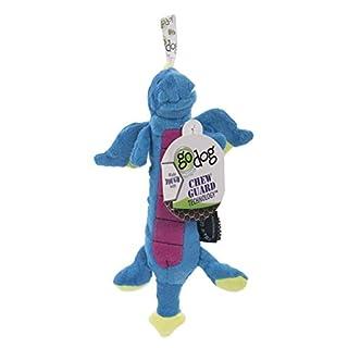 goDog Skinny Dragons with Chew Guard Tough Plush Dog Toy, Blue, Small
