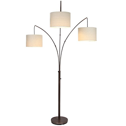 Brightech Trilage LED Floor Lamp – Tall Pole Modern Industrial Standing 3 Arm Arc, 3 Light, 3 Head Floor Lamp with Traditional Lamp Shade - for Living Room, Office, Bedroom- Oil Brushed Bronze - Room Shaded Floor Lamp
