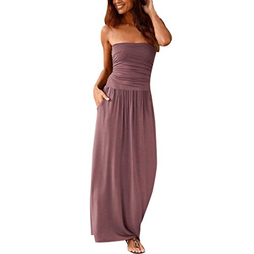 Sash Bandeau - Womens Bandeau Holiday Off Shoulder Long Dress Ladies Summer Solid Maxi Dress Pink