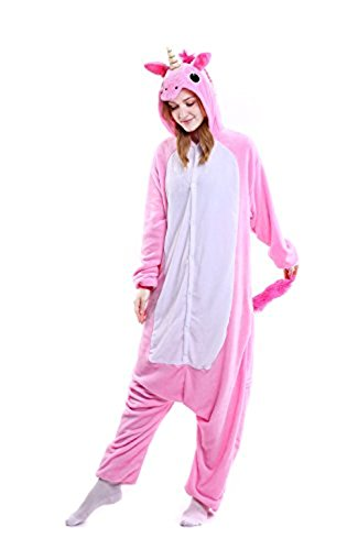 ABING Halloween Pajamas Homewear OnePiece Onesie Cosplay Costumes Kigurumi Animal Outfit Loungewear,Pink Unicorn Adult S -for Height 150-158cm