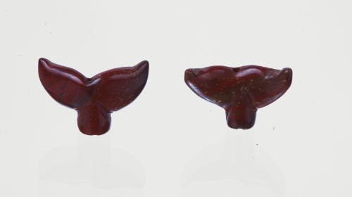 (Red Jasper Whale Tail Beads Set of 4 With 1.3mm Hole)