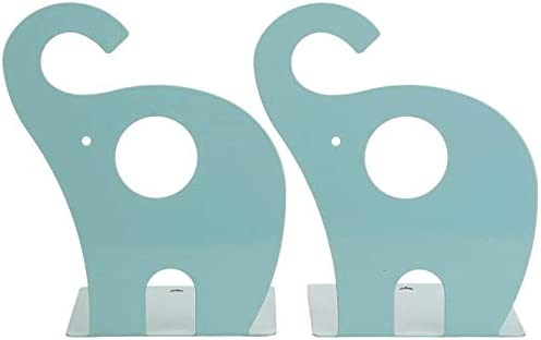 Non Skid Elephant Animal Book Ends for Shelves Decorative for Kids Blue 1 Pair Loupdeloup Cute Bookends