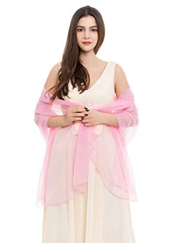 REEMONDE Womens Luxurious Soft Satin Chiffon Bridal Scarf Shawl Wraps Pashmina for Evening Party (Pink Chiffon)