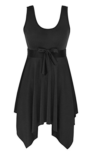 - DANIFY Women's One Piece Swimsuit Plus Size Skirted Swimwear Cover up Swimdress 2-black IT56/US22