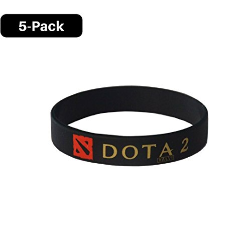 DOTA 5 Pack of II Silicone bands Enchanting with GOLD printed For Gamer, Fan and Gifts by TrosenShop (Black)