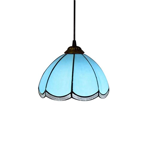(Yd&h Tiffany Style Pendant Lamp, 8-inch Blue Modern Baroque Mediterranean Small Chandeliers, Creative Stained Glass Art Pendant Lights for Restaurant Terrace Hallways,E27)