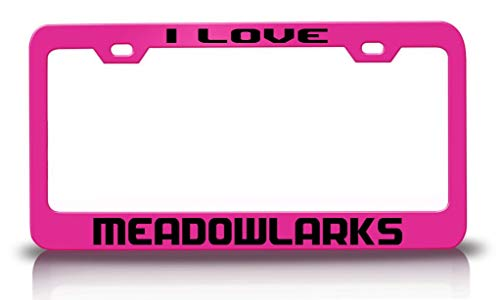 Meadowlarks Animals - Tag Xpress - I Love Meadowlarks Animals Pets Metal License Plate Frame Tag Holder Ch