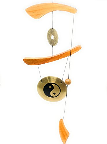 - THY COLLECTIBLES Feng Shui Brass Gong Wind Chime for Patio, Garden, Terrace, Balcony Or Any Room - Beautiful YIN & YANG Design Piece