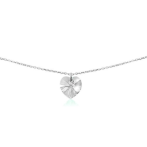 Clear Crystal Heart Necklace - GemStar USA Sterling Silver Clear Heart Choker Necklace Made with Swarovski Crystals