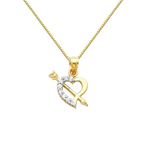 14k Two Tone Gold Cupid Arrow CZ Heart Pendant with 0.65mm Box Link Chain Necklace - 24